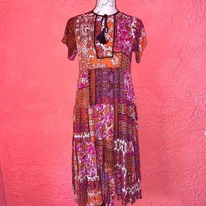 🧜♀️NWT Boutique Boho Paisley Tiered MIDI Dress